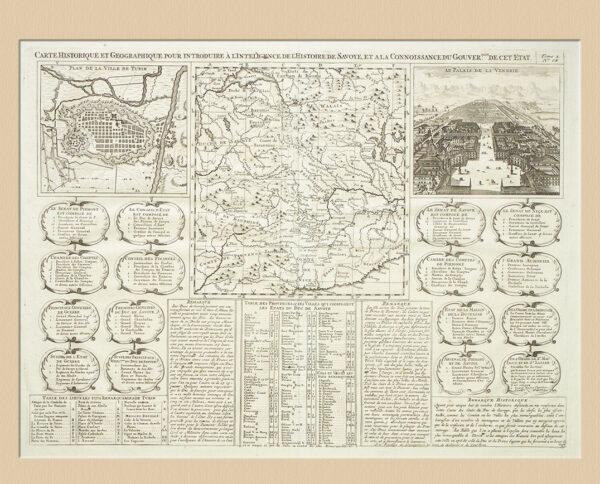 Il Piemonte e la Savoia, Incisione Originale XVIII sec.