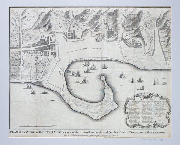 Pianta della Città di Messina, Incisione Originale 1740